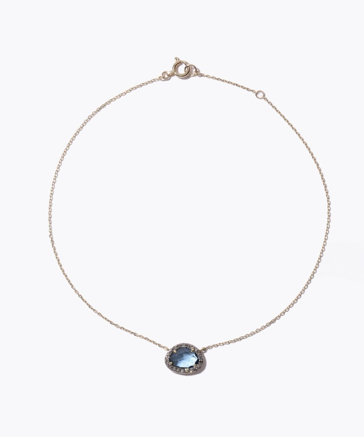 [elafonisi] london blue topaz pave diamond anklet