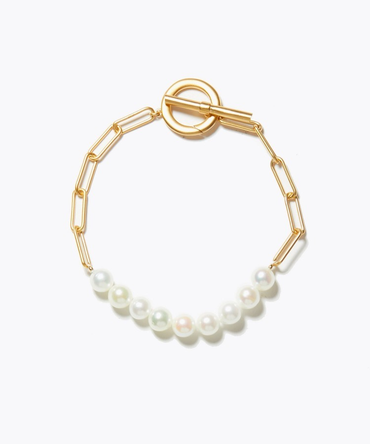 [philia] akoya pearl cable chain toggle bracelet
