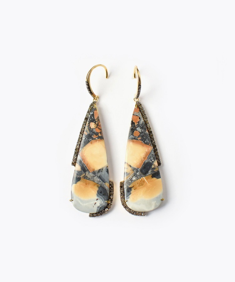 [elafonisi] marigano jasper paved with diamonds pierced earring