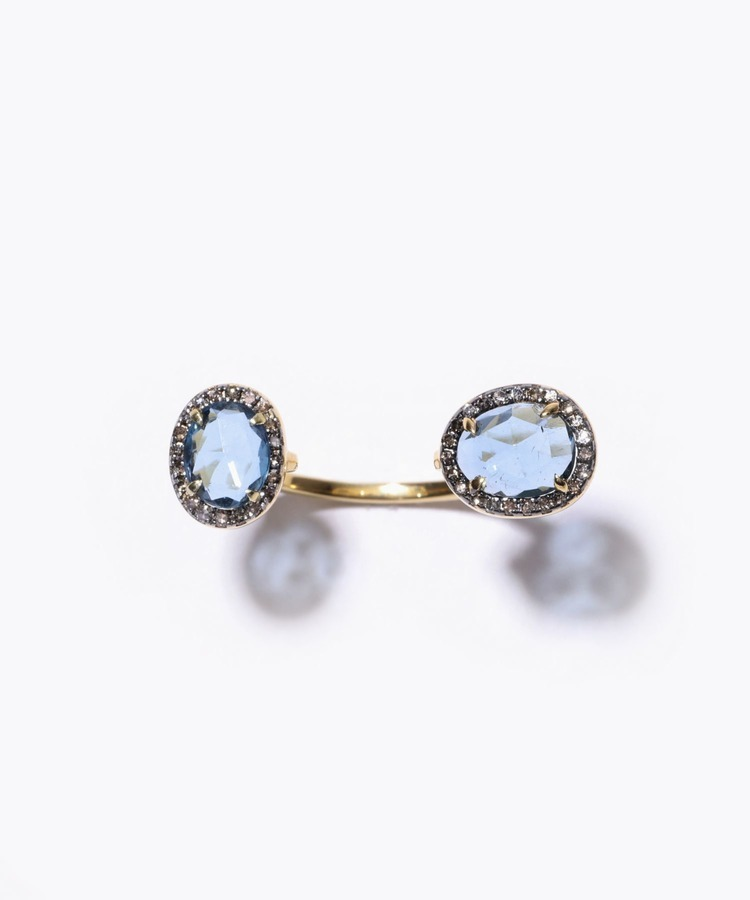 [elafonisi] london blue topaz pave diamond open ring
