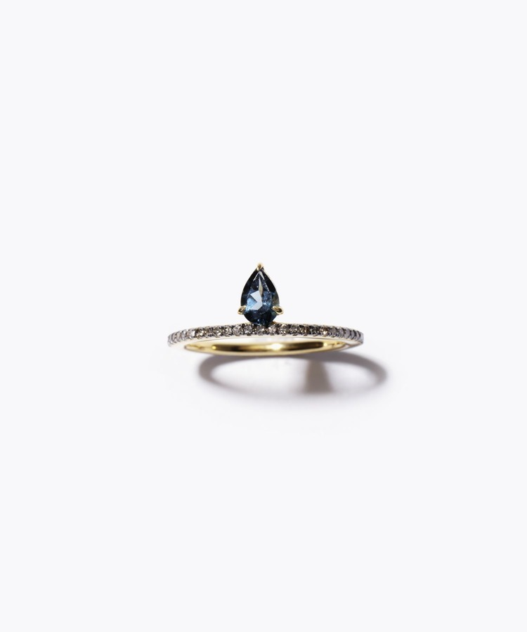 [elafonisi] pear shaped london blue topaz pave eternity ring