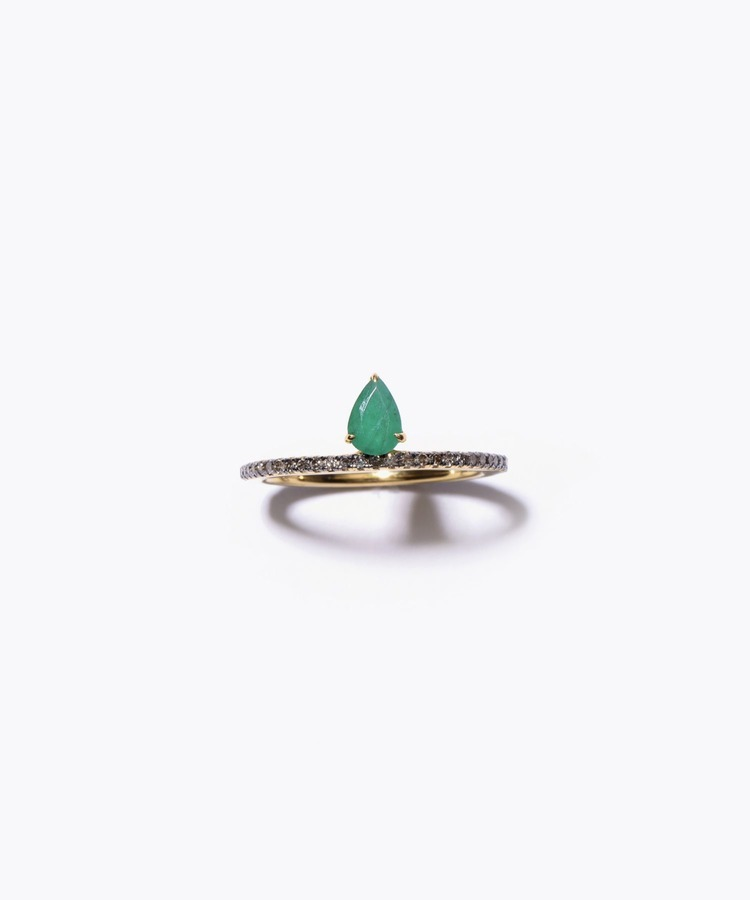 [elafonisi] pear shaped emerald pave eternity ring