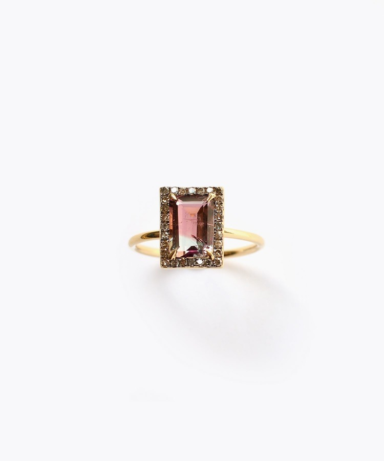 [elafonisi] 3rd anniversary limited rectangle tourmaline pave diamond ring