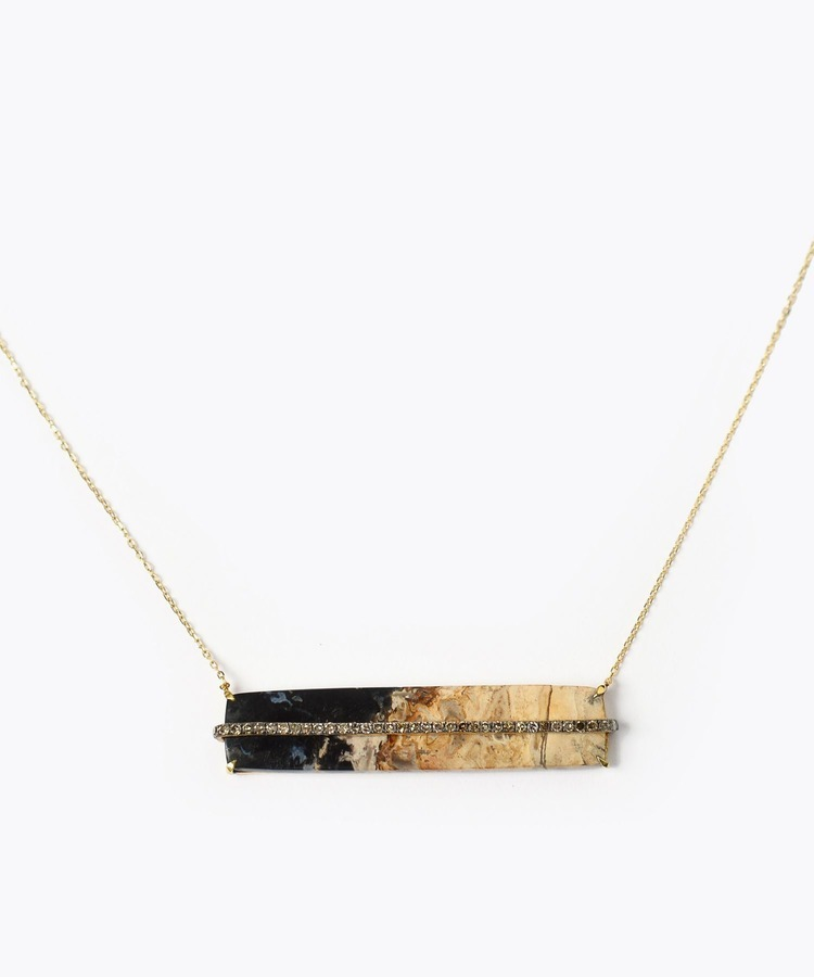 [elafonisi] palm root fossil pave diamond necklace