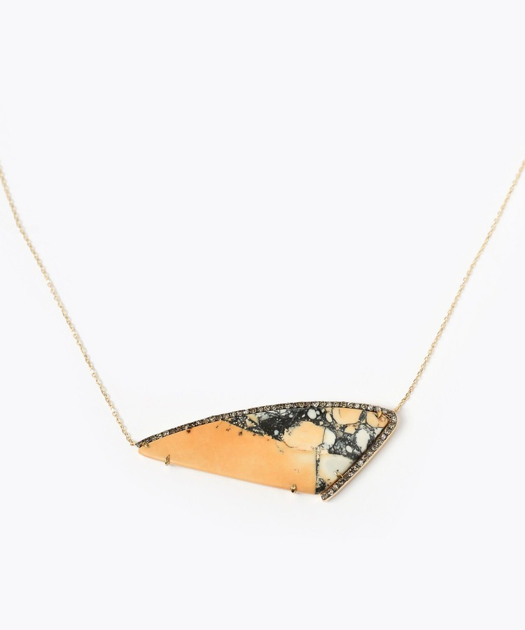 [elafonisi] marigano jasper paved with diamonds necklace