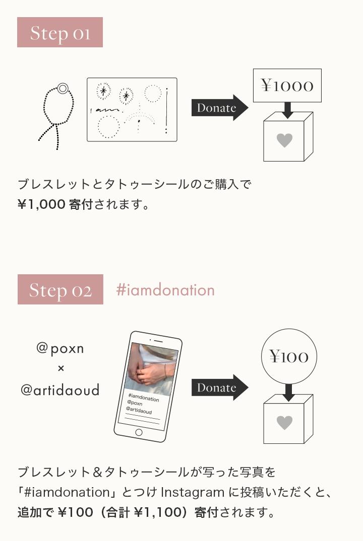 ブレスレットとタトゥーシールのご購入で¥1,000寄付されます。ブレスレット&タトゥーシールが写った写真を       「#iamdonation」とつけInstagramに投稿いただくと、追加で¥100(計¥1,100)寄付されます。