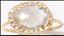 K18 ラブラドライト パヴェダイヤモンド リング